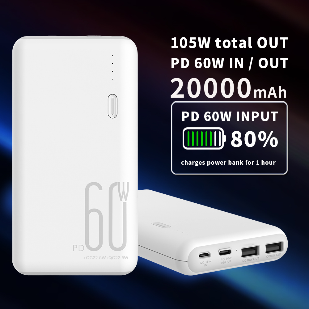PD60W High Capacity Fast Charging Mobile Power Supply 20000mAh