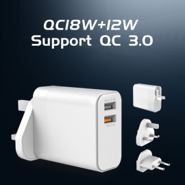 QC18W +12W Support QC 3.0Travel Charger KIT